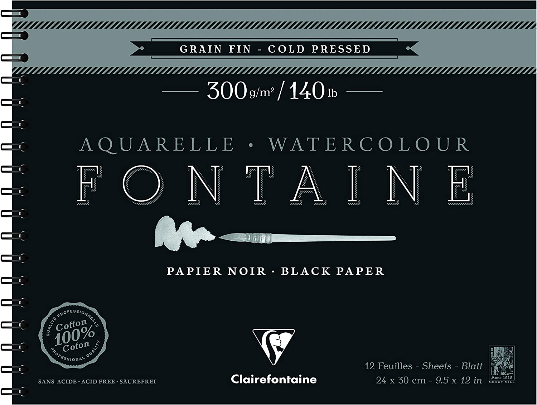 Bloc de espiral de papel acuarela fuente 12 hojas de grano fino negro Clairefontaine 975311C 24 x 30 cm 300 g