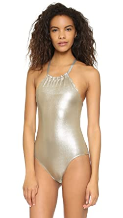 a2f02f68bb58b PilyQ 1 Piece Black and Gold Swimsuit Ora Seamless Wave Reversible ...
