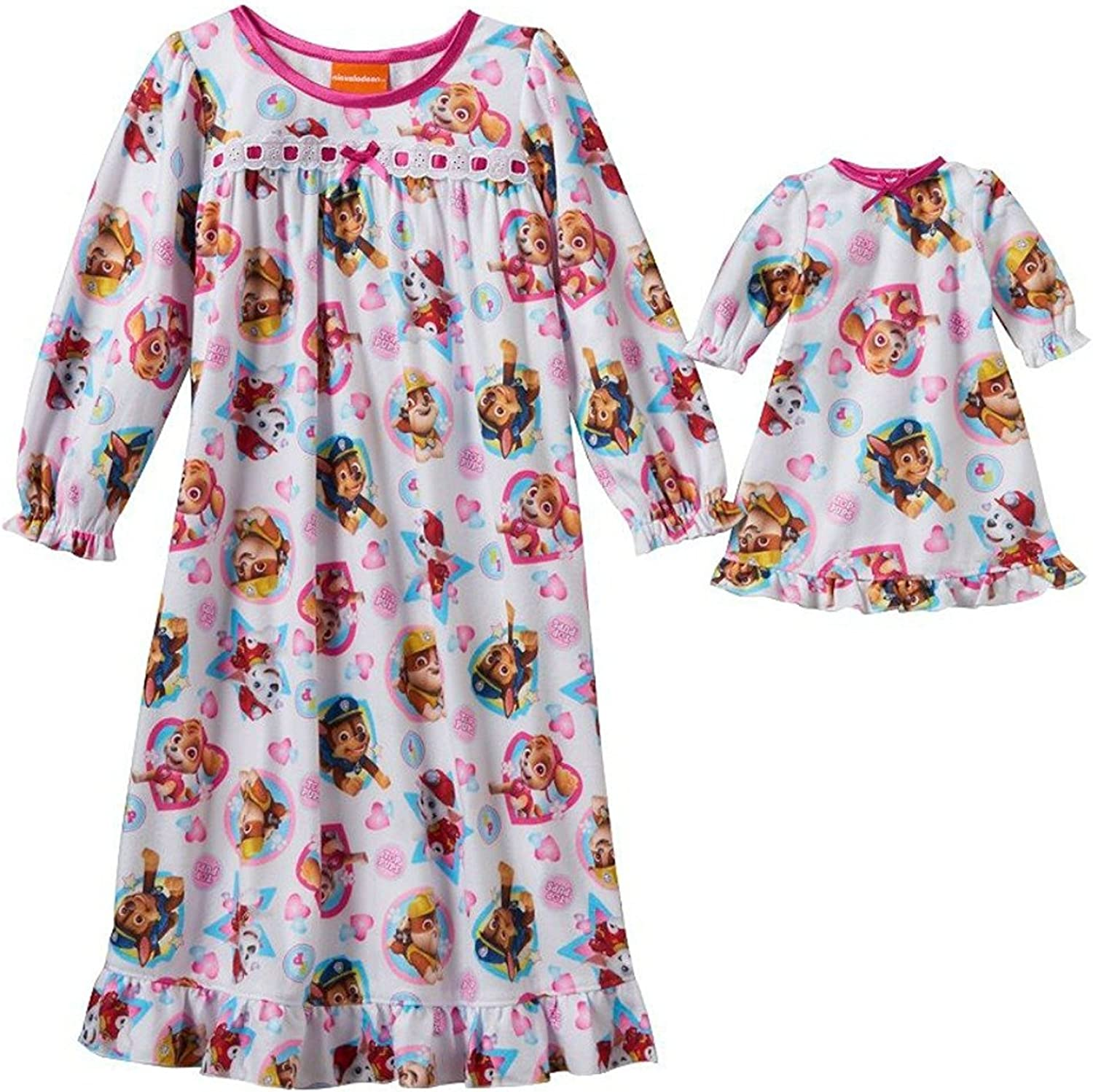 Girls Nightgown Matching 18 Doll Gown PAW Patrol 3T 4T