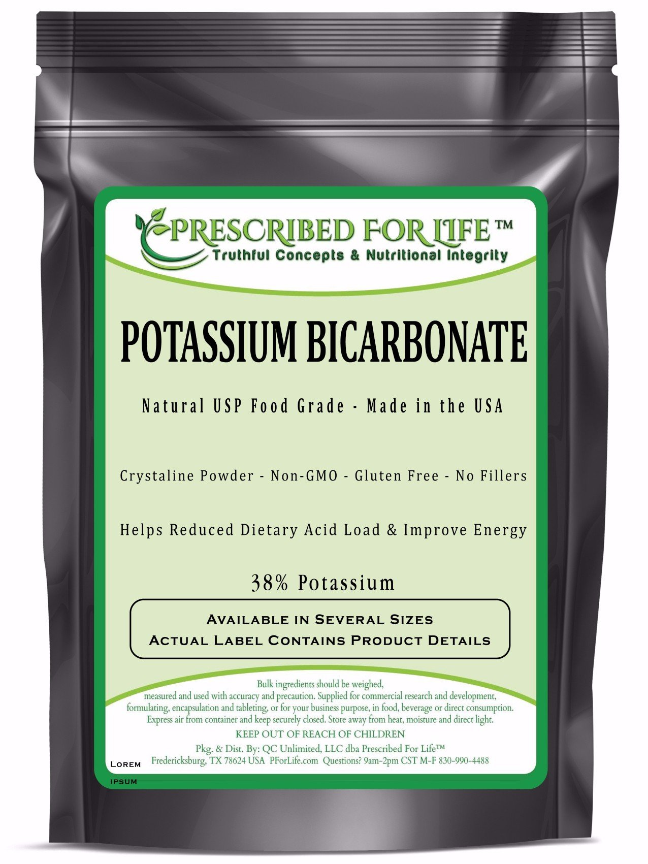 Potassium Bicarbonate - Natural USP Food Grade Crystalline Powder - 39% K, 1 kg by Prescribed For Life (Image #1)