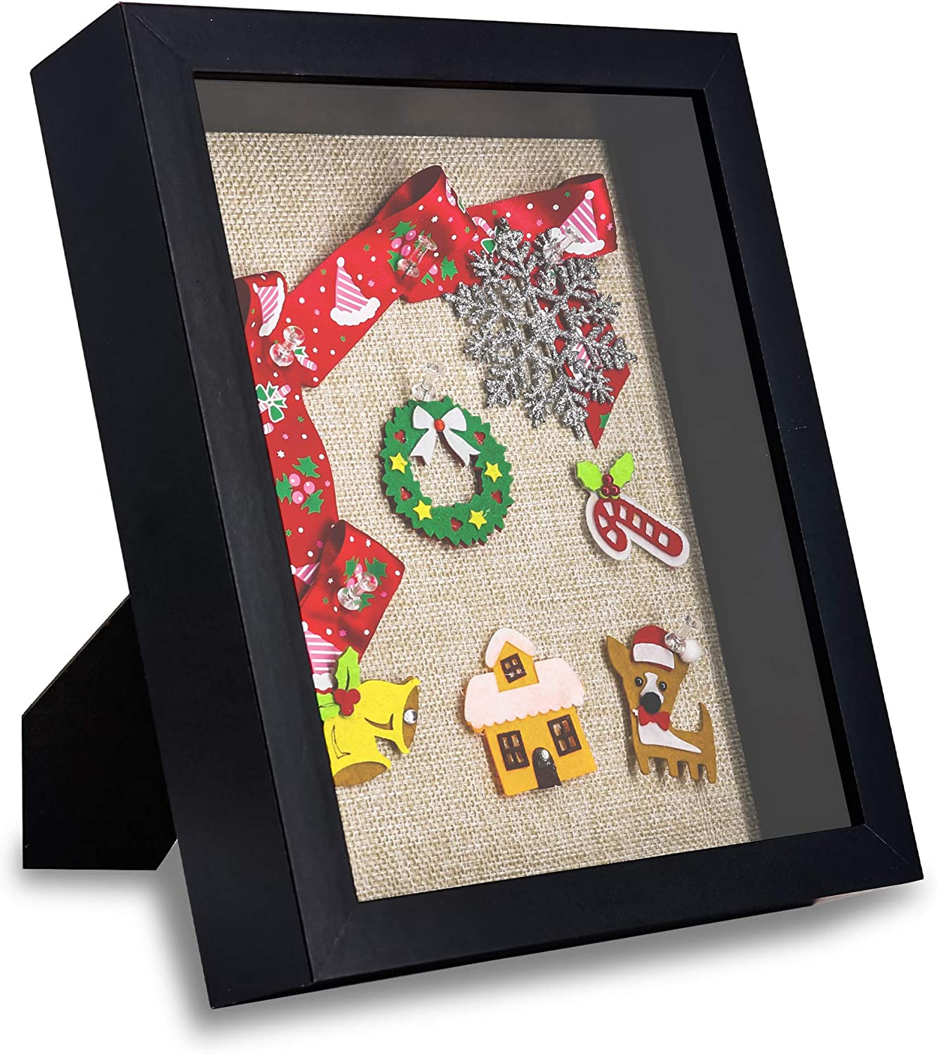 GraduatePro Shadow Box Frame 8x10 Display Case Black with Linen Background and 6 Stick Pins Memorabilia Awards Medals Photos Memory Box