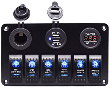 81iiufWMl0L._SX355_ amazon com cllena waterproof 6 gang rocker switch panel dual  at fashall.co