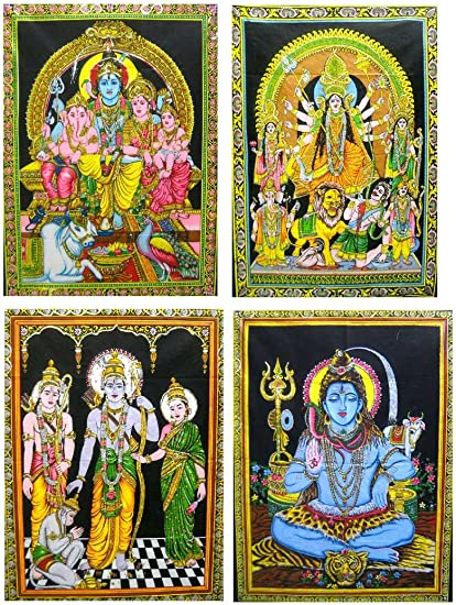 India Crafts 10 Hindu Gods Goddess Batik Sequin Cotton Wall Hangings Tapestry Wholesale lot 30 X40 Inches Large
