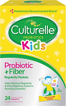 Culturelle Kids Regularity Probiotic & Fiber   Helps Restore Regularity & Keeps Kids' Digestive Systems Running Smoothly*   24 Single Packets