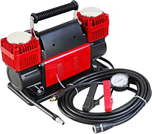 Ultra Extreme 4x4 Tire Super Air Flow Portable Car Air compressor 300 Litter/Mints 150 PSI With Carry Bag Color RED