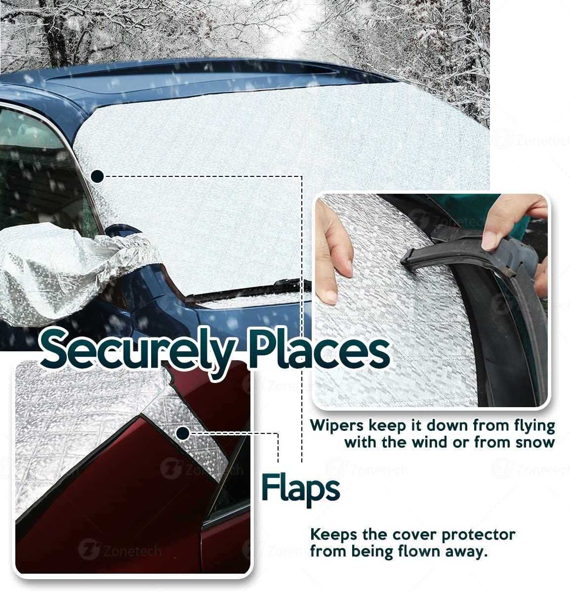 Silver Premium Quality Summer Winter Rear and Front Windshield Cover Protector with Flaps with Side Mirror Cover Comfort Wheels Zone Tech 2-Piece All Weather Windshield Cover Protector