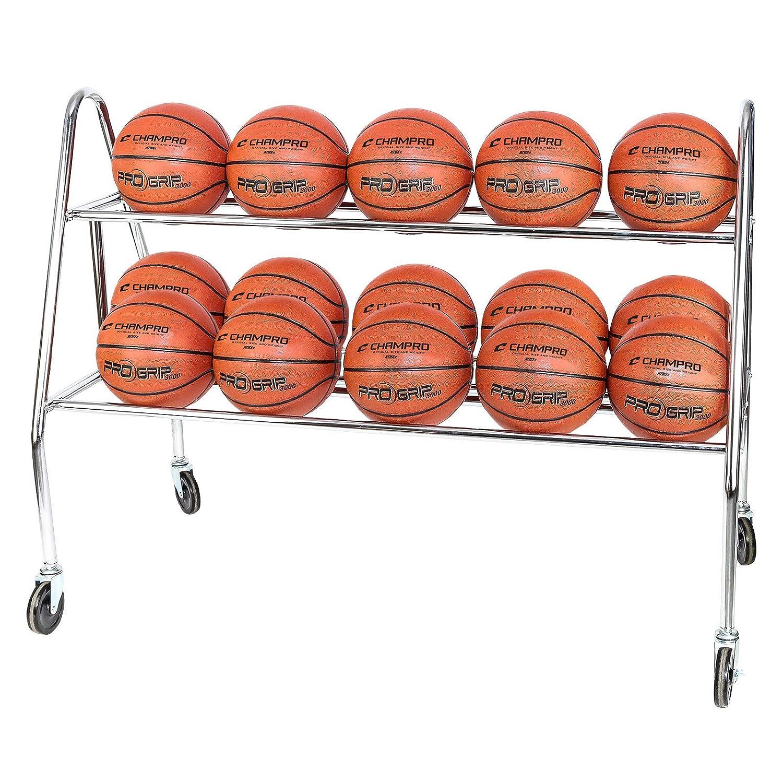 CHAMPRO Sports Prism 15 Ball Rack W/Casters Silver, 47' L x 20' W x 25' H
