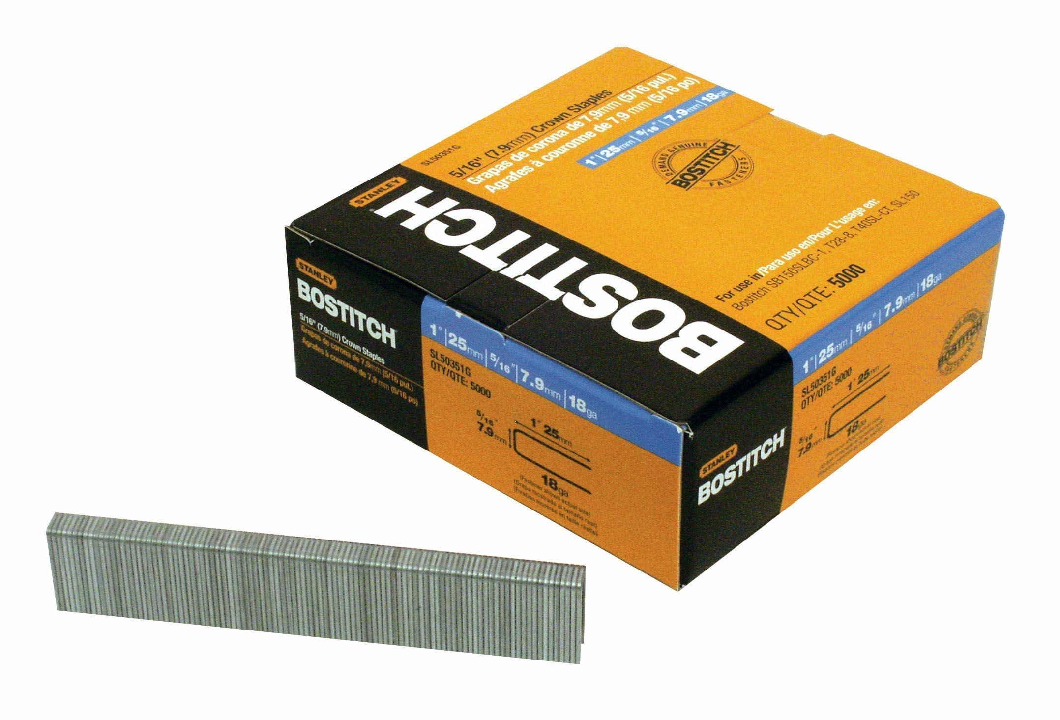 BOSTITCH SL50351G 1-by-5/16-Inch 18-Gauge Staples, 5000-Per Box by BOSTITCH