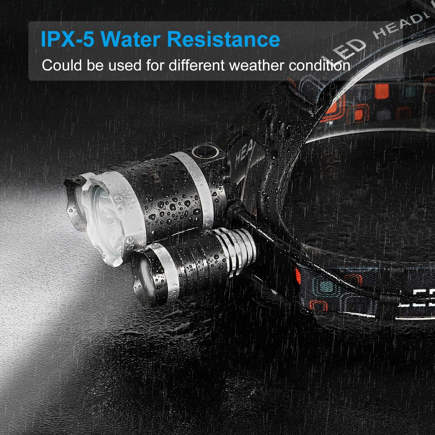 MOS-HDLP-5 Binwo Brightest Head Lamp 18650 Batteries, Wall Charger /& Car Charger Included Led Headlamp Rechargeable 4 Modes Waterproof Head Light with 18 Month Warranty