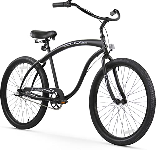 Firmstrong Bruiser Man Seven Speed Beach Cruiser Bicycle, 26-Inch, Black Red Rims