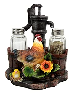Ebros Country Animal Farm Chicken Hen with Chicks by Irrigation Well Pump Barrels and Sunflowers Salt and Pepper Shakers Holder Figurine As Kitchen Dining Home Decorative Sculpture of Rooster