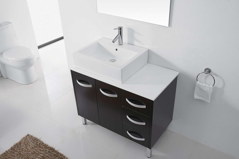 Virtu usa hazel 56 inch single sink bathroom vanity set free - Virtu Usa Um 3069 S Bl Tilda 40 Inch Single Sink Bathroom Vanity Set With White Stone Countertop Ceramic Basin Chrome Faucet Black Finish Amazon Com