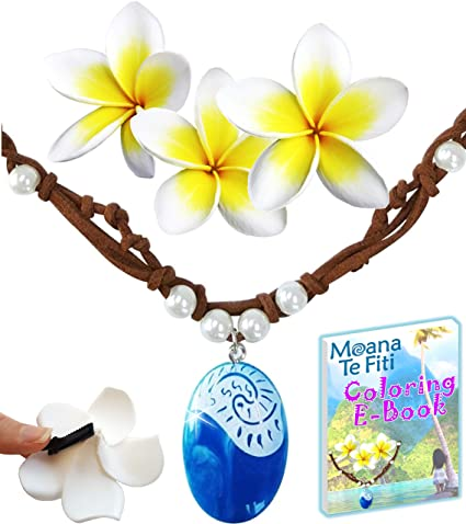9604ba9c8751b Princess Charms MOANA NECKLACE 3 Flower Clips & E-Book