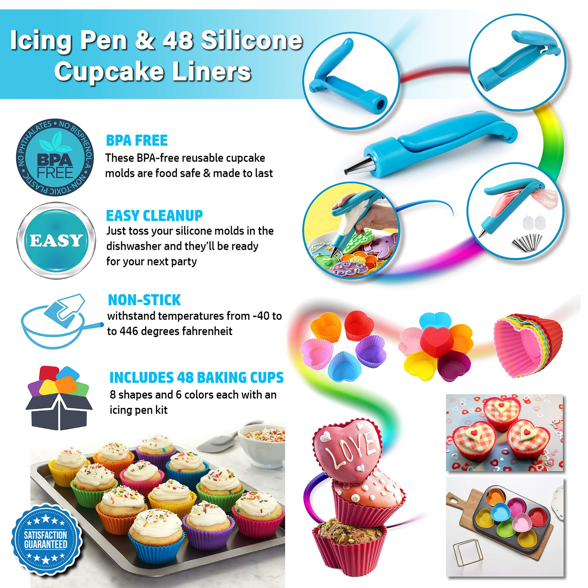 Cupcake Baking Cup Molds Bundle Easy Clean Pastry Liners 48 Nonstick Reusable Silicone Muffin Molds with Icing Pen Cupcake & Cake Decorating Pen Set by Kitchen Krush (Image #4)