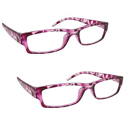 La Compañía Gafas De Lectura Rosa Concha Ligero Cómodo Lectores Valor Pack 2 Estilo Diseñador Hombres Mujeres UVR2PK032PK Dioptria +2,00