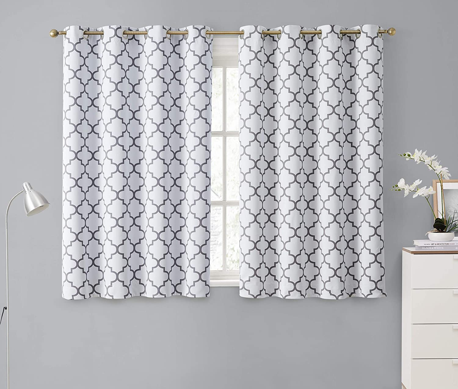 HLC.ME Lattice Print Decorative Blackout Thermal Insulated Privacy Room Darkening Grommet Window Drapes Curtain Panels for Bedroom - Platinum White & Grey - Set of 2-52 x 45 Inch Length
