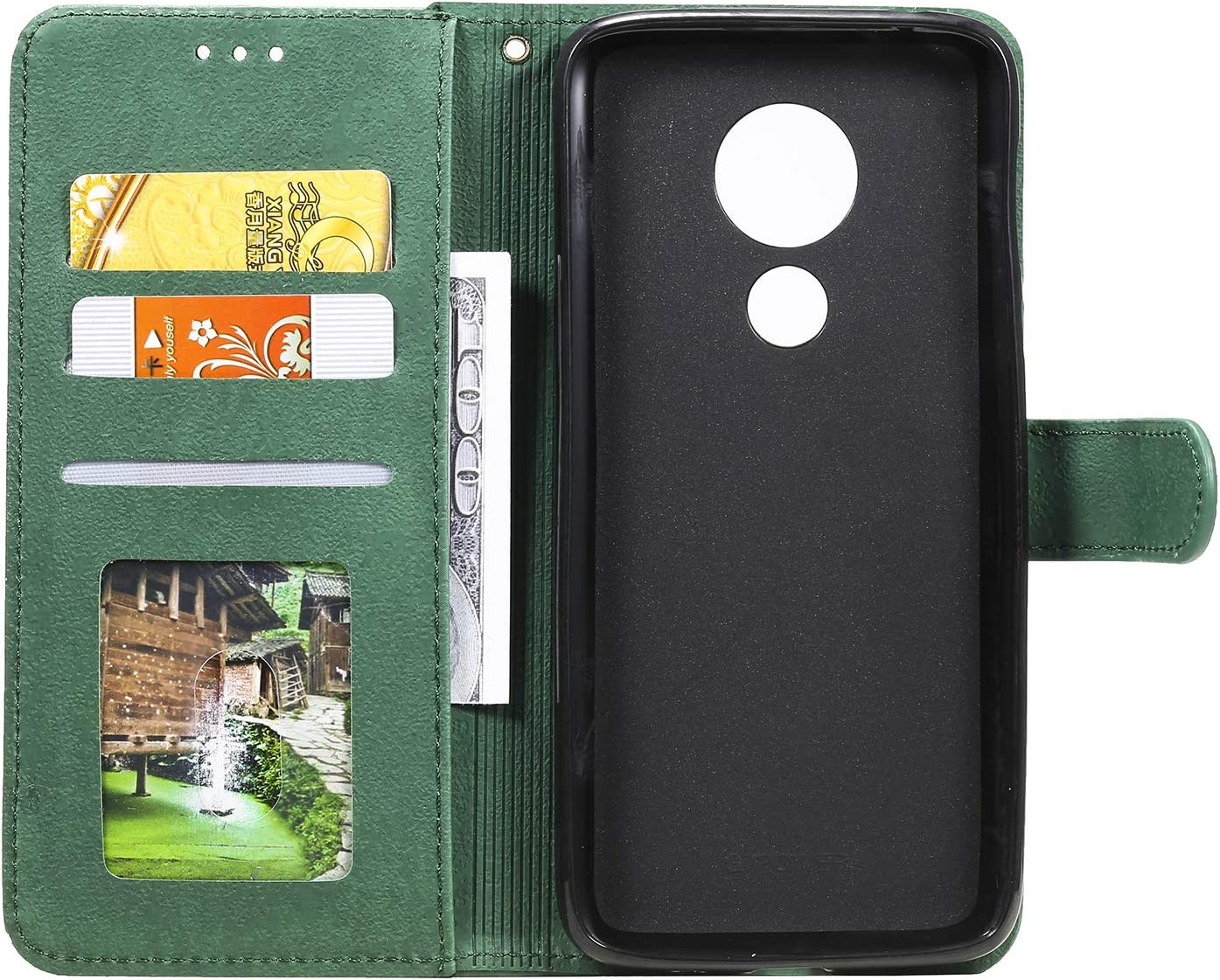 LOHHA150553 Black Shockproof Flip Case Cover for Motorola Moto G7Play Lomogo Leather Wallet Case for Moto G7 Play with Stand Feature Card Holder Magnetic Closure