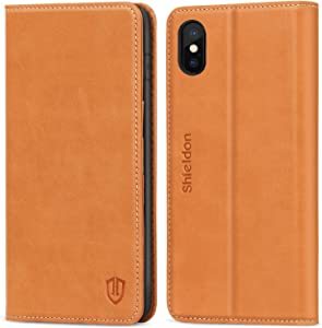 SHIELDON iPhone Xs Case, iPhone Xs Wallet Case, Genuine Leather Flip Magnetic Book Design Auto Sleep Wake Credit Card Slots Shock-Absorbing Protective Case Compatible with iPhone Xs (5.8 inch) - Brown