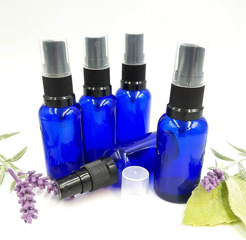 5 x Azul Cristal Botella 30 ml spray de color azul/Incluye Pump vaporizador/cabezal pulverizador Negro Din 18 Botiquín con tapa transparente
