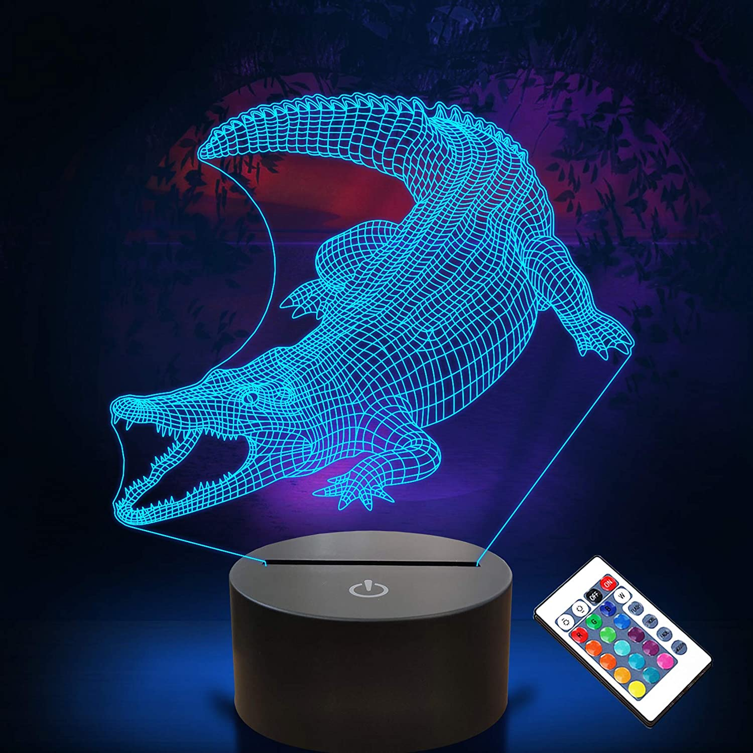 FULLOSUN Crocodile Gifts, 3D Alligator Night Light for Children with Remote Control, Timer, 16 Colors Changeable Christmas Birthday Gifts Suitable for Boys Aged Above 3, 4, 5, 6 +