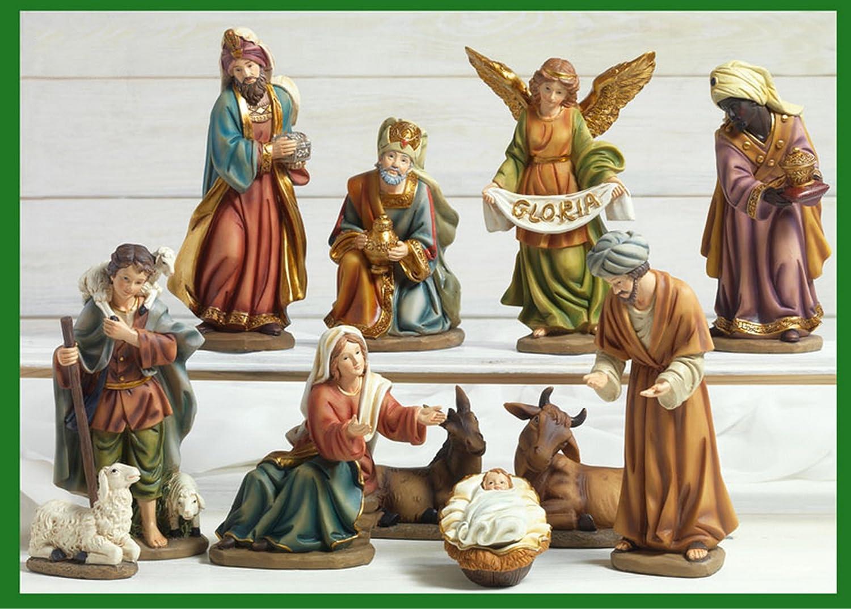 Idea Natale: Presepe natività composto da 11 statue grandi soggetti in resina decorata alte fino a 20 Centimetri PB