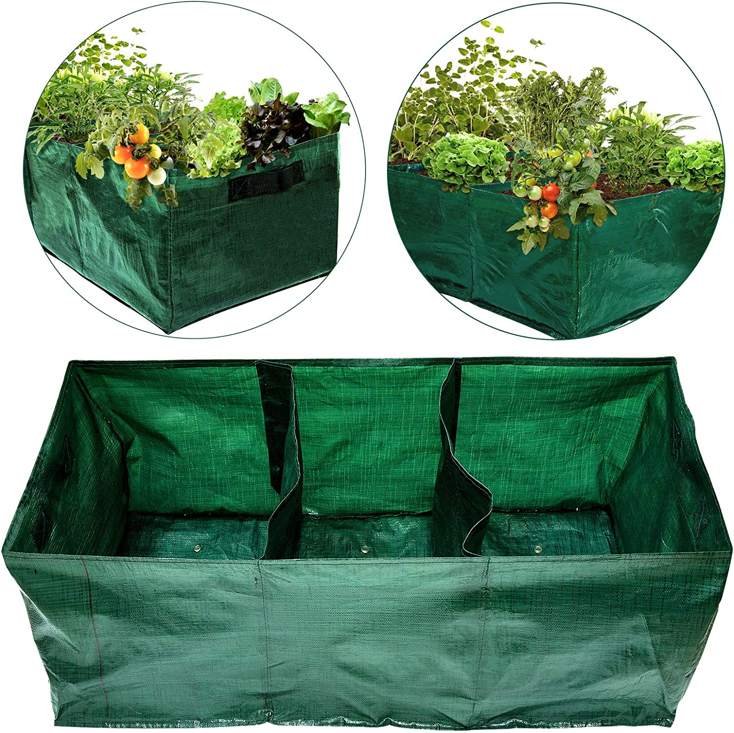 28 Gallon Exlarge Plastic Raised Planting Bed with 3 Compartments- 3 Divided Grids Rectangle Garden Grow Bag Potato Tomato Planter Pot Containers for Vegetables Plant Flowers Growing (Dark Green)