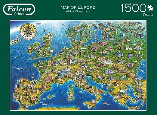 Jumbo 11057 - Falcon - Map of Europe - 1500 Teile: Amazon.de: Spielzeug