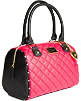 Betsey Johnson Red Diamond Quilt Rhinestone Heart Charm Faux Leather Lady Satchel Shoulder Bag