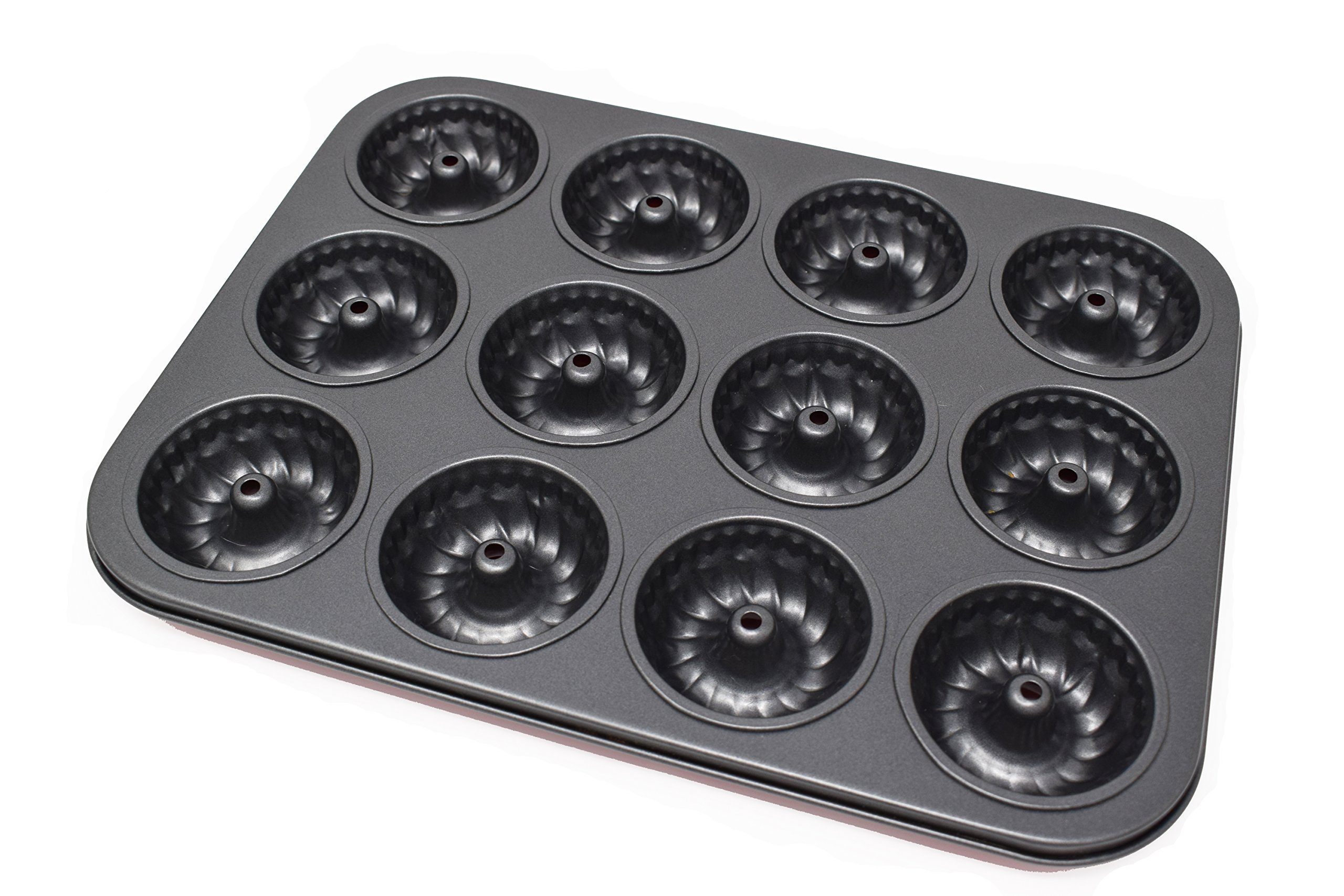 PreOkupied 2-Pack of 6-Cavity Fluted Mini Bite-Size Bundt Cake Nonstick Baking Pan, Carbon Steel, Dark Gray 10.6 x 7.5 x 1.6 Inches with 2.8 Inch Cavities, Including a Blue Collapsible Silicone Funnel by PreOkupied