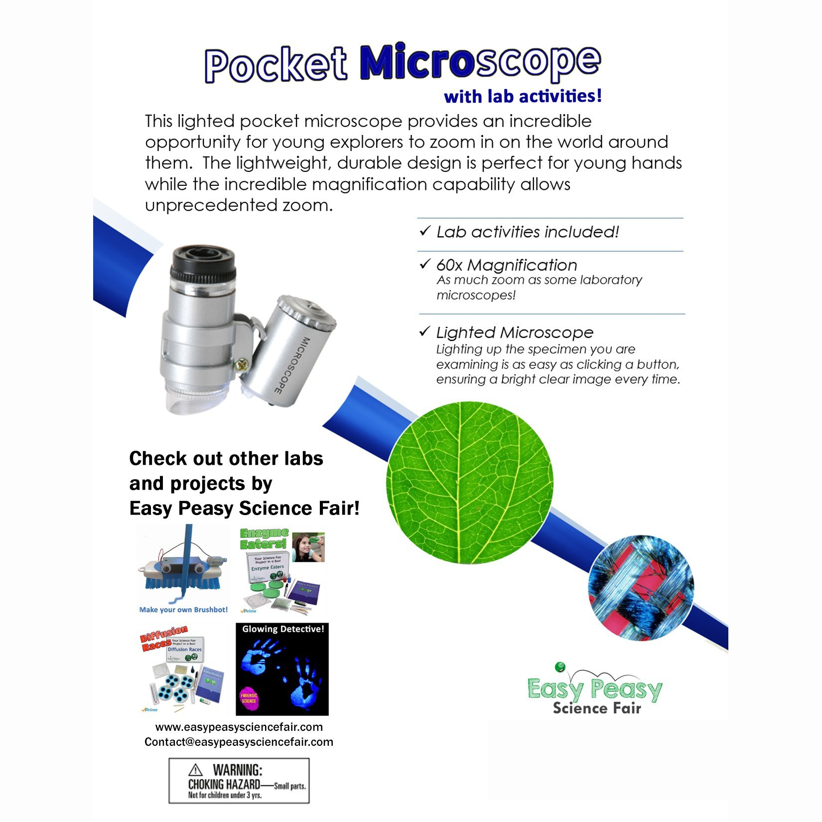 Easy Peasy Science Pocket Microscope 60x and Lab Activities