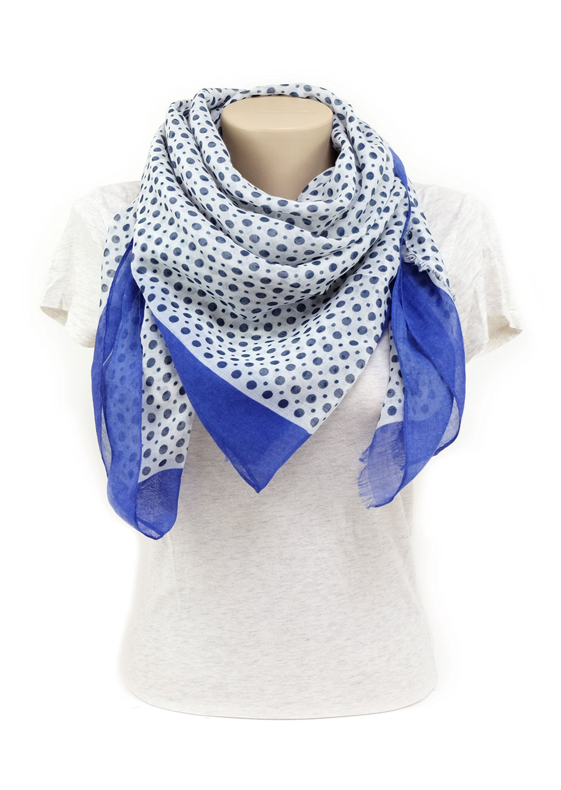 Scarves for Women by MIMOSITO Fashion Lightweight Elegant Geometric Patterned Wrap (Polka Dot-Blue) by MIMOSITO (Image #4)