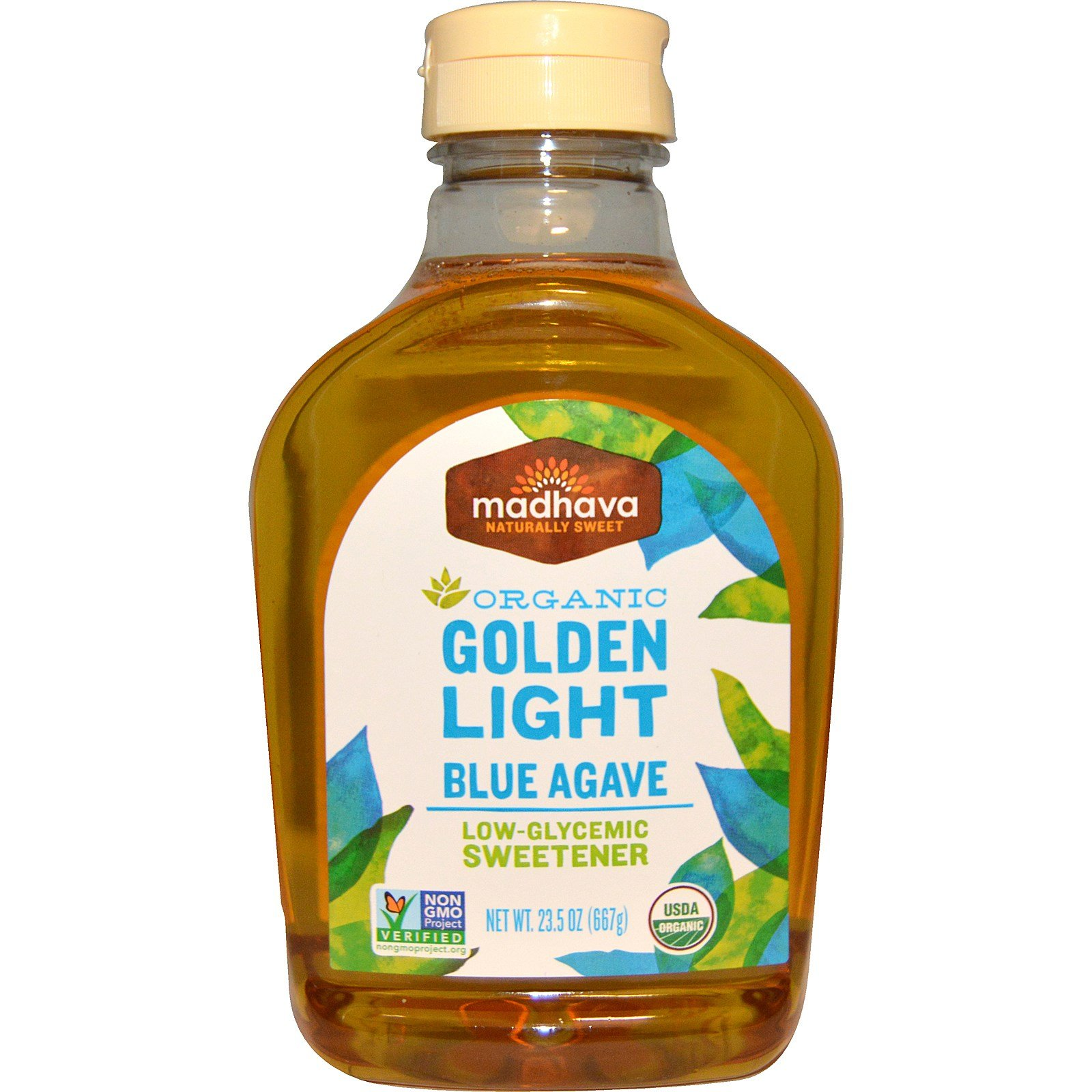 Madhava Natural Sweeteners, Organic, Golden Light, Blue Agave, Low-Glycemic Sweetener, 23.5 oz (667 g) - 2pc