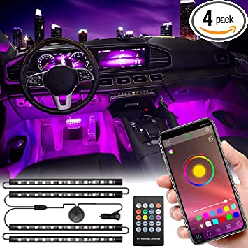 Multi DIY Colour Music Under Dash Car Lighting with Car Charger DC 12V Car LED Strip Light,Interior Car Lights Upgraded Design Waterproof 4pcs,72 LED APP Controlled Lighting Kits