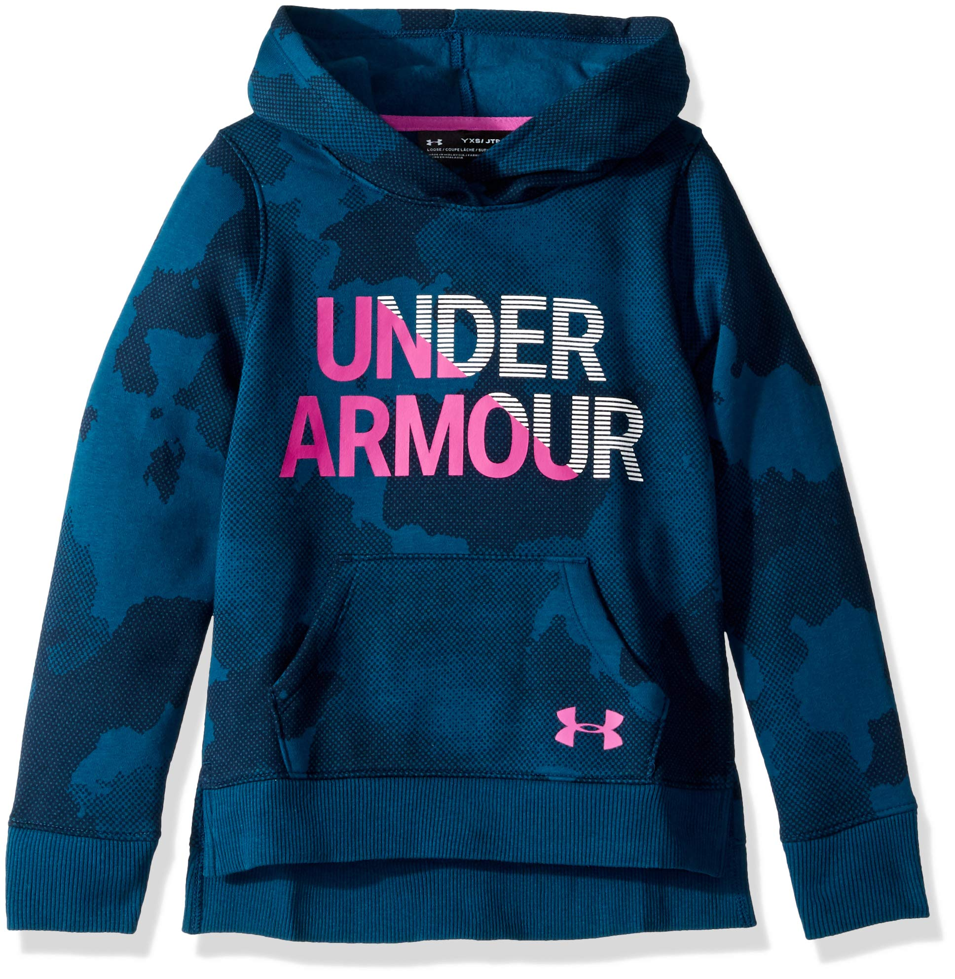 Under Armour Girls Rival Hoodie, Techno Teal (490)/Fluo Fuchsia, Medium by Under Armour