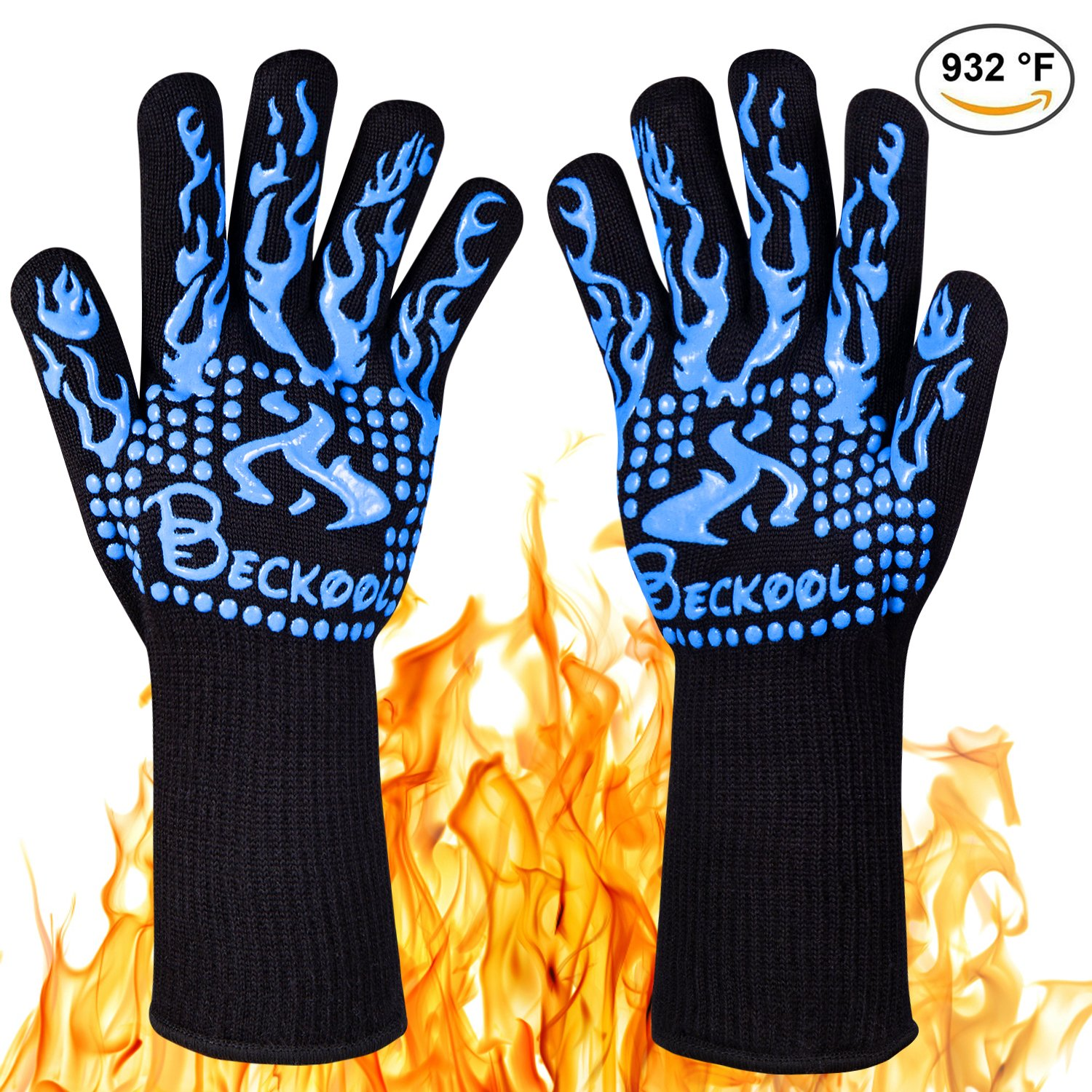 Beckool Heat Resistant Oven Gloves, Grill Gloves BBQ Accessories Oven Mittswith 932℉ Heat Resistance for Cooking, Grilling, Baking, Barbecue-Blue by Beckool