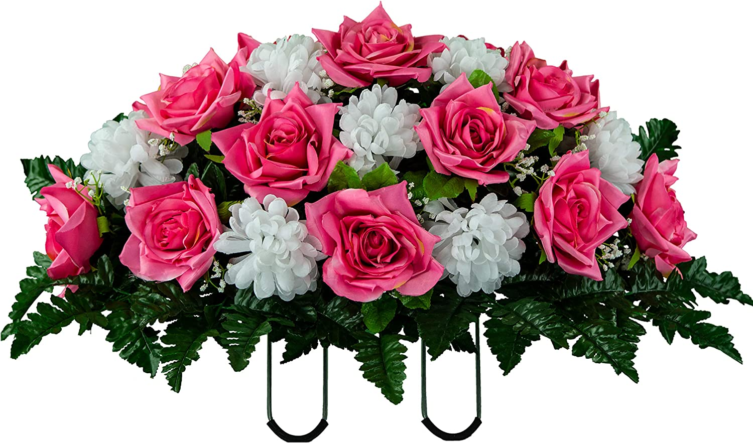 Amazon Com Artificial Cemetery Flowers Saddle Arrangement Pink Rose White Mums Silk Fake Flowers For Outdoor Grave Decorations Non Bleed Colors Easy Fit Kitchen Dining