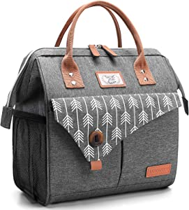 Lekesky Insulated Lunch Bag for Women Lunch Box Leakproof Reusable Cooler Bag for Adult Outdoor Work, Grey