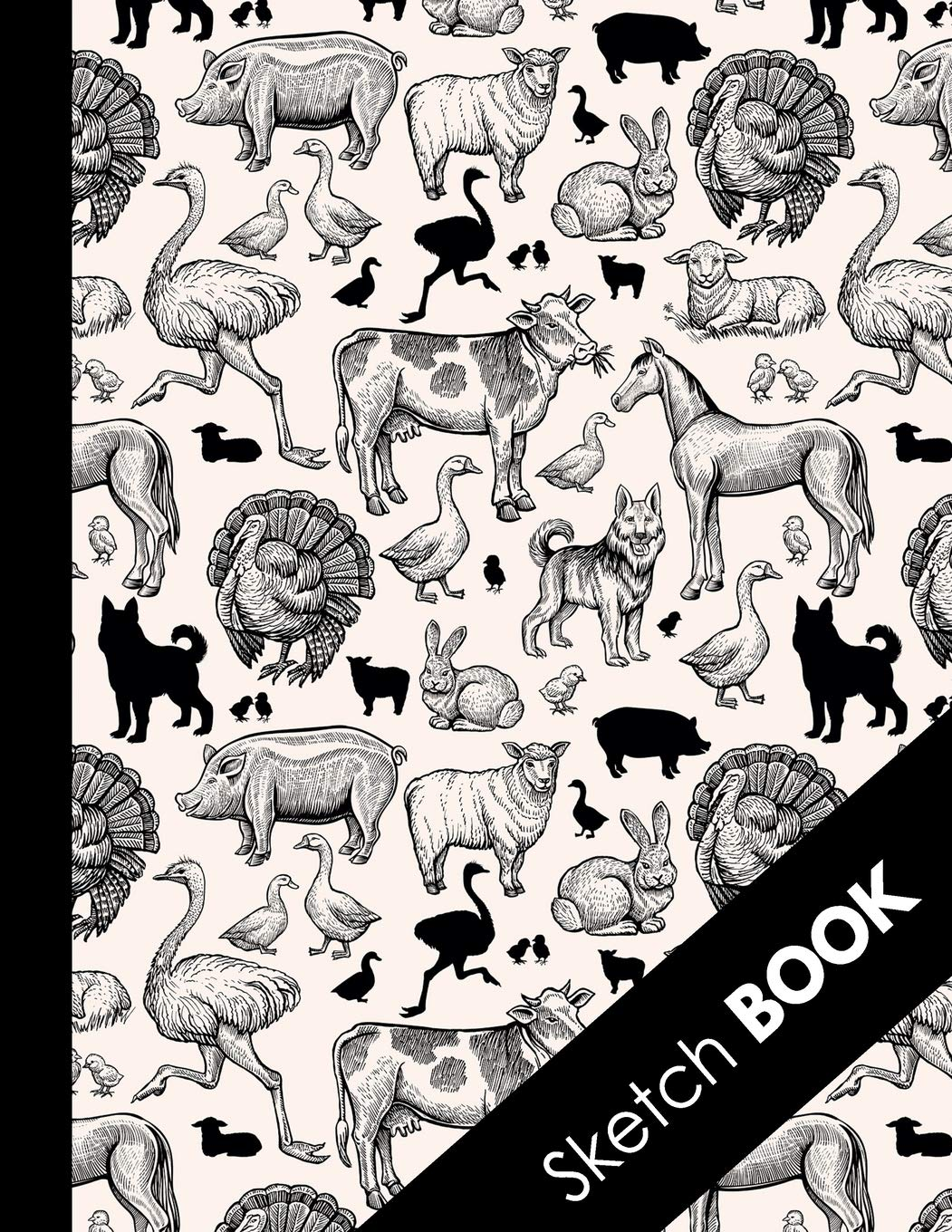Amazon Com Sketch Book Practice Drawing Doodle Paint Write Large Sketchbook And Creative Journal Funny Farm Animals Pattern 9781686378164 Pencils Kelly Books
