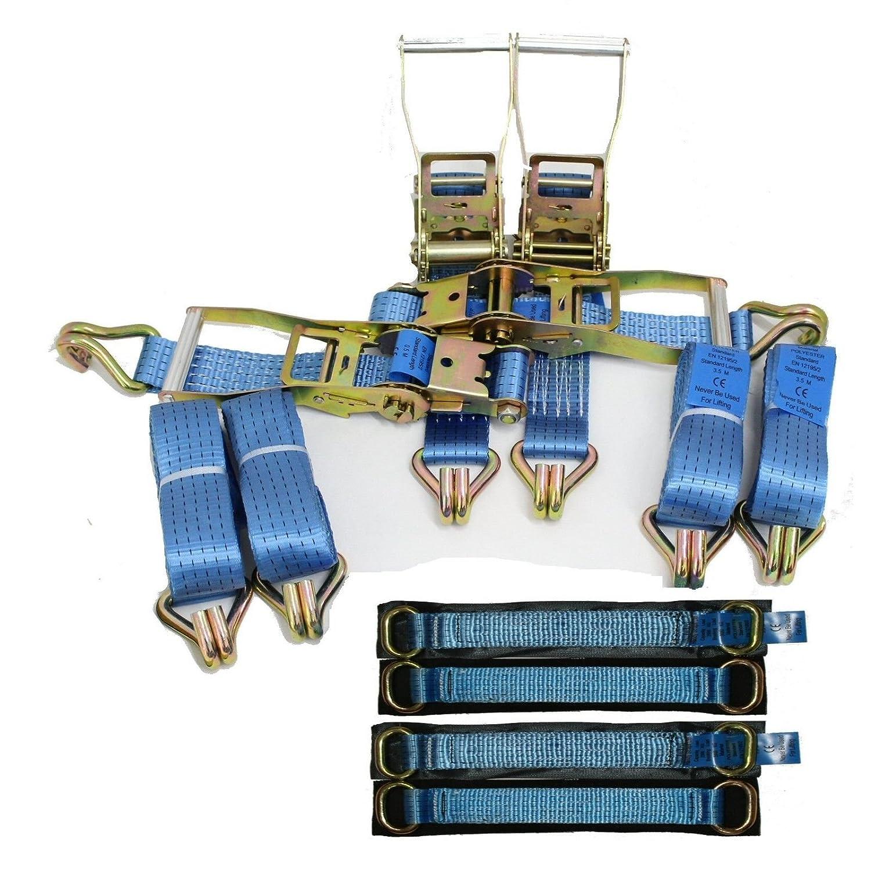 4 x 4mtr Blue Recovery Trailer Standard Handles Metal Ring Transporter Ratchet HandyStraps