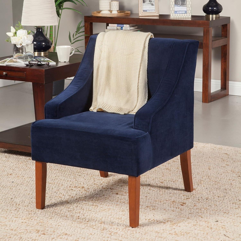 Amazon Kinfine Velvet Swoop Arms Accent Chair Navy Kitchen
