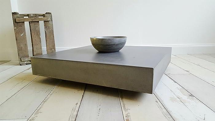 massiver beton couchtisch schwebend und rollbar b&k design ... - Beton Wohnzimmertisch