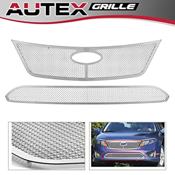 AUTEX Stainless Steel Main Upper+Lower Bumper Mesh Grille Combo Insert Compatible With Ford Fusion 2010 2011 2012 Grill Insert F71020T