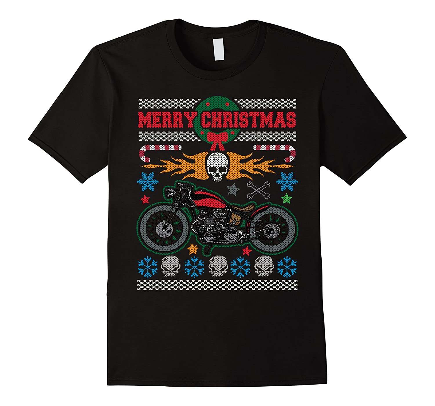 Merry Christmas Vintage Motorcycle Ugly 1 T-shirt