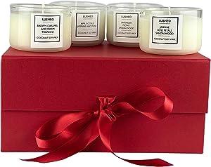 Lusheo Scented Candle Gift Set Box | Apple Citrus 5.5oz | Rose Petal Jasmine 5.5oz. | Smoky Caramel 5.5 oz | Lavender Peony 5.5 oz