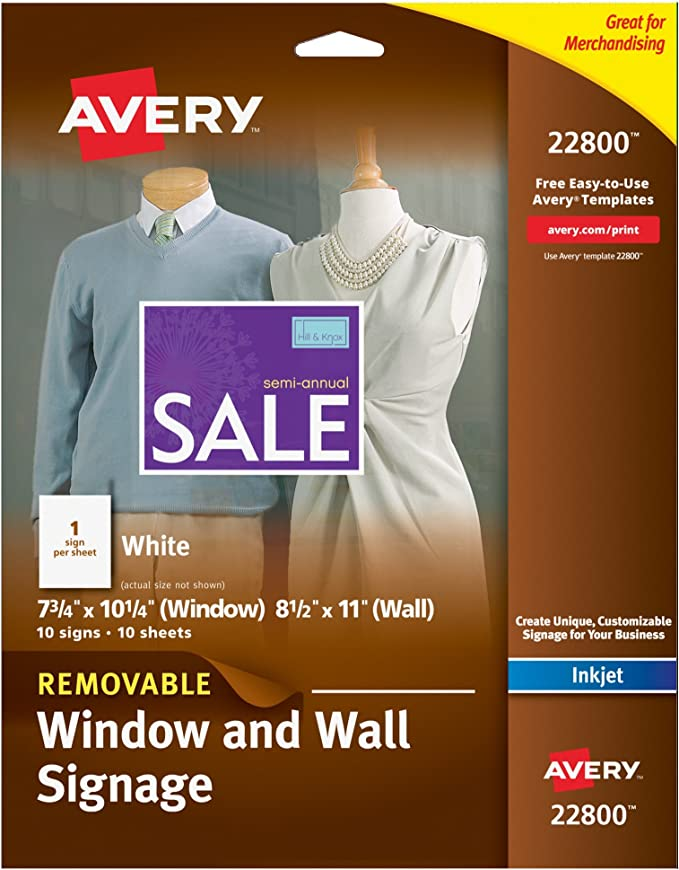 Avery clear decals 53212 packaging image | printing labels, window.