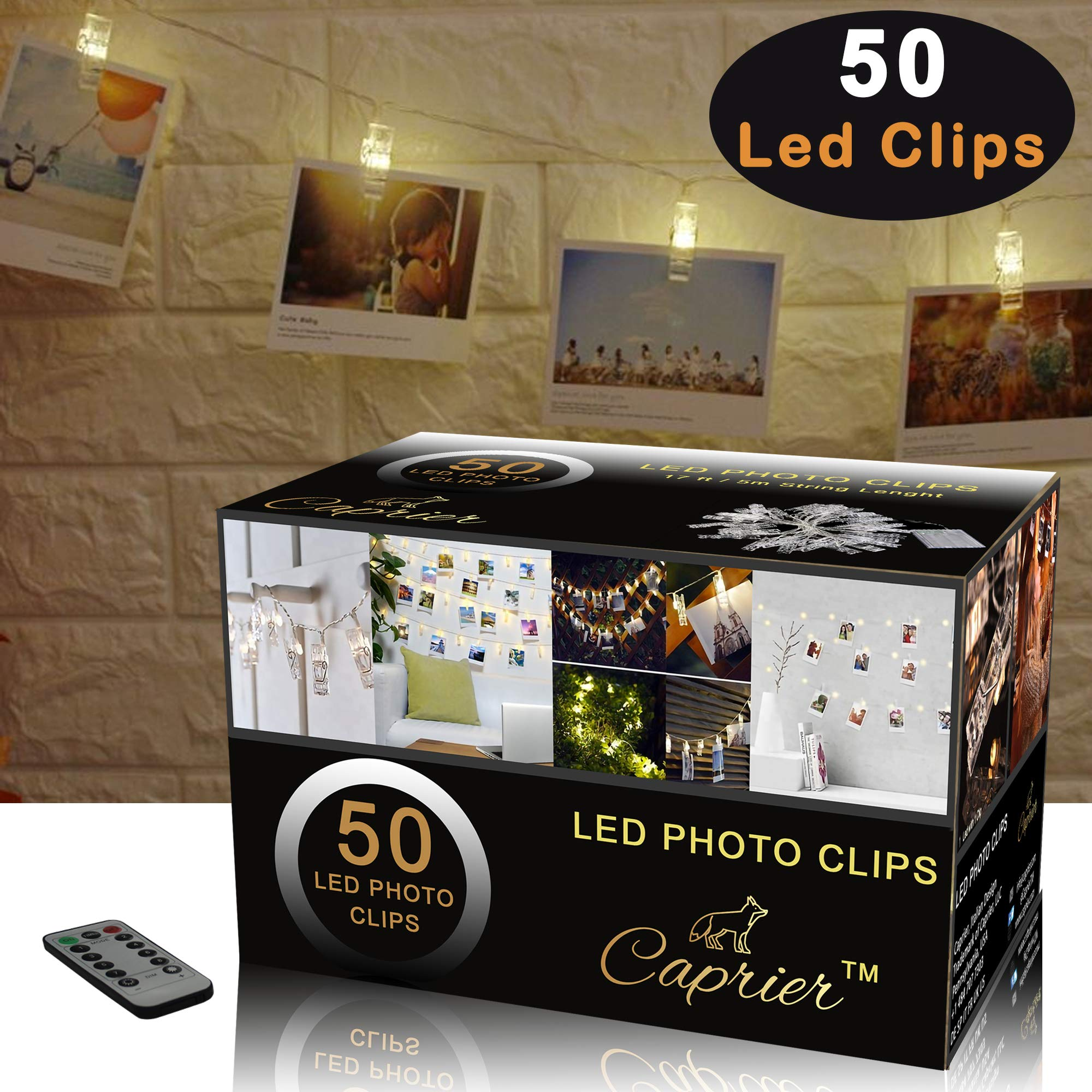 CAPRIER Luxury Photo Clips String Light   50 LED, USB Cable, Remote, Wall Hooks   Photo Clip Lights with Clips for Pictures, Photo String with Clips for Hanging Polaroid, Cards and Home Decoration