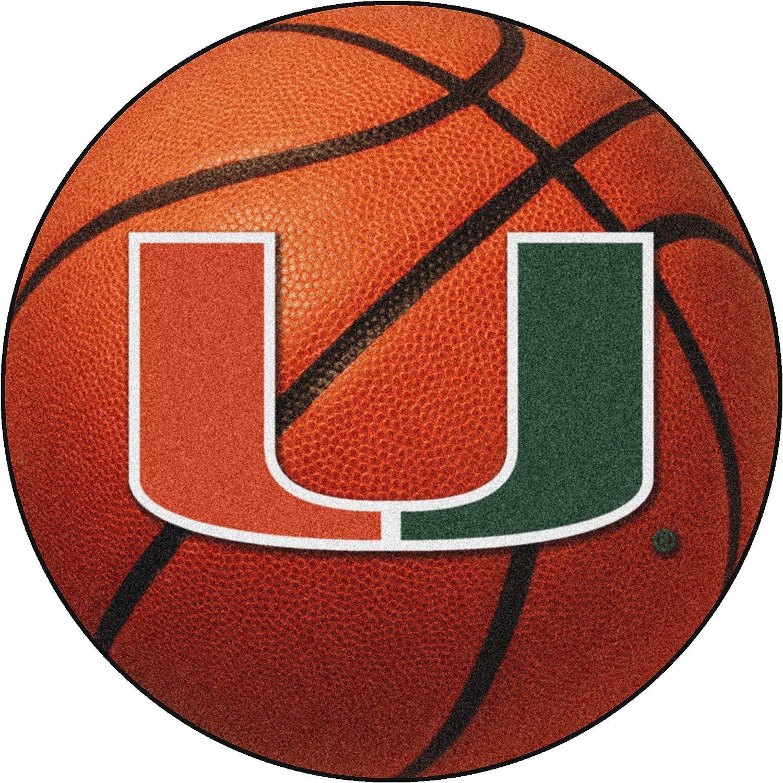 "FANMATS NCAA University of Miami Hurricanes Nylon Face Basketball Rug,Team Color,26"" diameter"