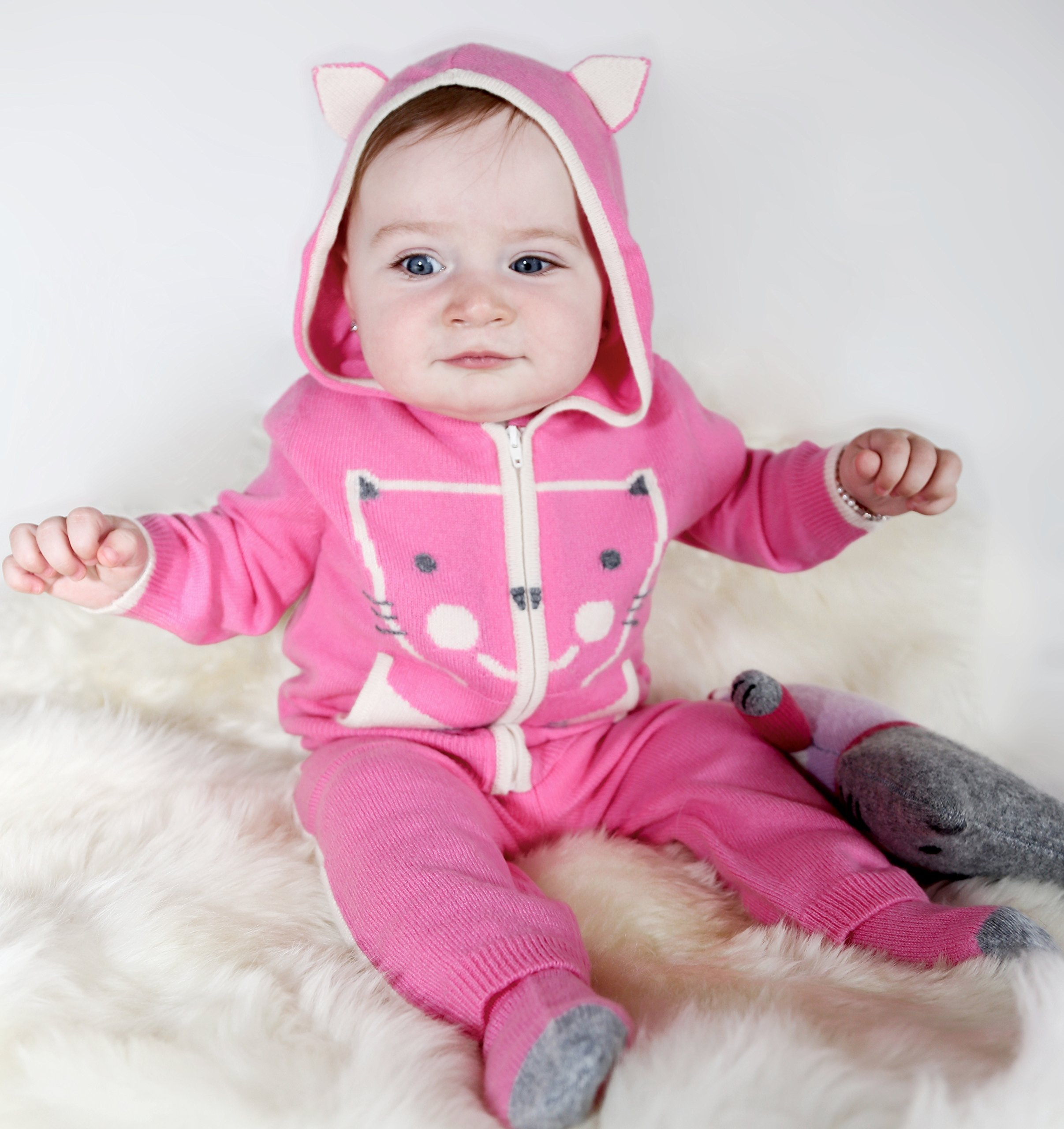 Gia John Cashmere Baby Girl Hoodie 2 piece Sweater Set and knit Pants Cashmere Pink 6-24M
