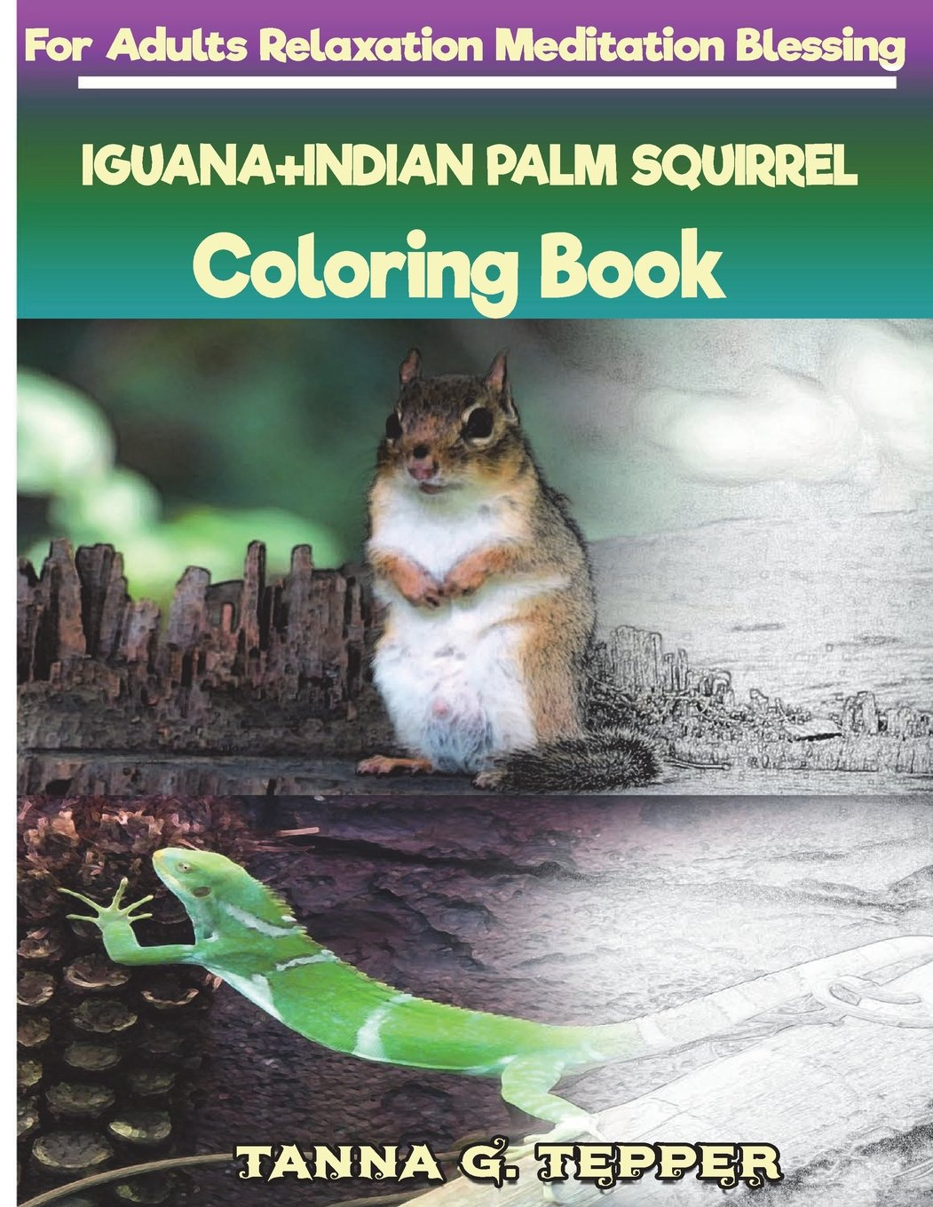 Download IGUANA+INDIAN PALM SQUIRREL Coloring book for Adults Relaxation Meditation: Sketch coloring book Grayscale Pictures pdf epub