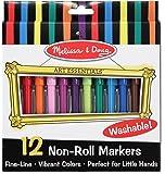 Melissa & Doug Art Essentials Marker Set - 12 Non-Roll Washable Markers